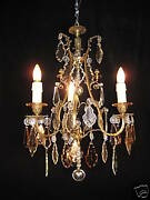 Chandelier Bronze And Crystal French Circ.1920 Restored By European Lighting