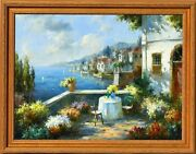 Oil On Canvas Painting B Harvey Depicting Gorgeous Seaside Town In Italy Vintage