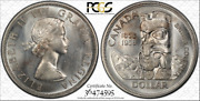 1958 Canada 1 Dollar Bu Unciculated Pcgs Genuine Unc Detail Cleaned