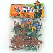 Vintage 60's Larco Cowboys And Indians Plastic Figures Hong Kong New In Hang Bag