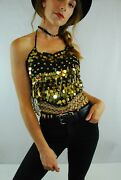 Black And Gold Sequin Coin Crop Bra Top Rave Ibiza Festival Belly Dance 6 8 10 12