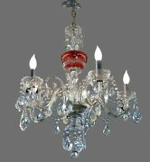 Crystal Chandelier Cranberry Red 5 Arm Length 29 X Width 26 English Rose Design