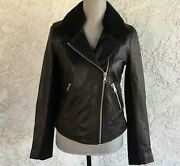 Ugg Andee Black Leather Moto Cycle Jacket Sheepskin Collar Womens Size S Small