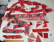Large Lot Of 19thc Printed Floral Turkey Red Cotton Quilting Piecesfabric