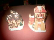 Lot Of 2 Christmas Holiday Train Village Mini Houses Sparkle And Glitter Bling