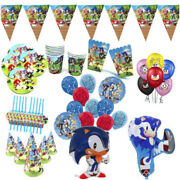 Sonic The Hedgehog Theme Balloon Birthday Party Decoration Plates Table Cover