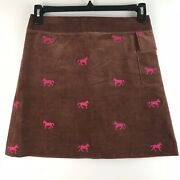 Lilly Pulitzer Womens Sz 4 Brown Corduroy Pink Horses Embroidered A Line Skirts