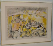 Vintage Framed Abstract Lithograph By Roberto Matta C.1970s