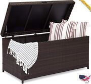 Outdoor Wicker Patio Furniture Deck Storage Box For Cushions Pillows Andamp Tools