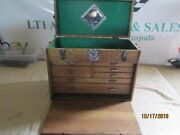 Vintage Oak Wooden Machinist Tool Box Chest W/ 7 Drawers