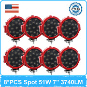 8x 51w 7inch Led Spot Work Light 6000k Spot Beam Chevrolet Tractor 4x4 4wd Ford