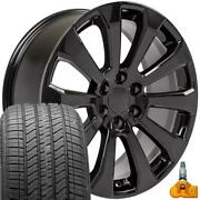 22x9 Black 5922 Rims Bda Tires Tpms Fit Chevrolet And Gmc 1500 High Country