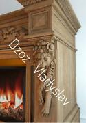Carved Wood Pair Corbels - Lion, Fireplace Surround, Architectural Wood Carvings