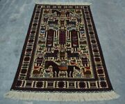 H276 Vintage Afghan Decor Wall Hanging Adam Pictorial Hunting Rug 3and0399 X 6and0394 Ft