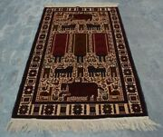 H279 Vintage Afghan Decor Wall Hanging Adam Pictorial Hunting Rug 3and03910 X 6and0393 Ft