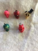 Vintage 4 Celluloid Skull Charms And One Devil Head