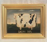 Vintage Oil Painting On Canvas Signed Cow 1808 Americana Gold Frame 15x12