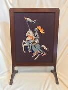 Antique English Fire Screen Needlepoint Mahogany Knight Horse Suit Of Armor