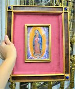 + Beautiful Baked Enamel Panel Of Our Lady Of Guadalupe + Chalice Co + Pl87