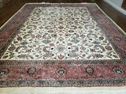 9and039 X 12and039 Vintage Hand Made India Oriental Wool Rug Carpet Hand Knotted Ivory