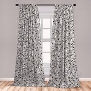 Leafy Microfiber Curtains 2 Panel Set Living Room Bedroom In 3 Sizes