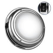 Stainless Steel Led Dome Light W/ On-off Switch 6 Inches Cool White