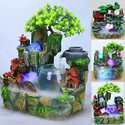 Desktop Waterfall Resin Rockery Fountain Decor Indoor Home Ornaments Color Lamps