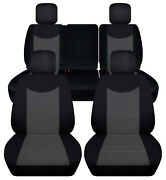 Front+rear Blk-charcoal Custom Fit Car Seat Covers Fits Jk Wrangler 4dr 07-2018
