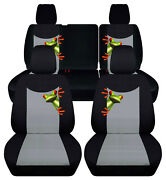 Front+rear Custom Fit Car Seat Covers Blk-silver W/frog Fits Jk Wrangler 4dr