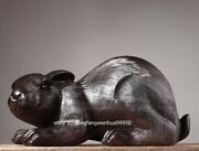 China Black Rosewood Hand Carved Fengshui Auspicious Animal Rabbit Statue