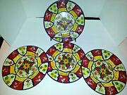 Pier 1 Imports Vallarta 6 Salad Plates And 1 Cookie Jar Hand-painted Earthenware