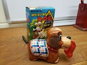 Vintage Tin Windup Yone Whirling Tail Dog With Boot Japan In Box Tin Toy Lot