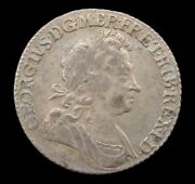 George I 1723 Silver Shilling - Roses And Plumes In Angles - Vf
