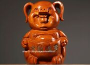 China Padauk Wood Hand Carved Take Yuanbao Wealth Lucky Pig Sculpture