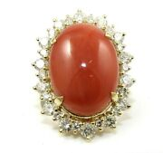 Oval Orange Coral And Diamond Halo Solitaire Ladyand039s Ring 14k Yellow Gold 16.63ct