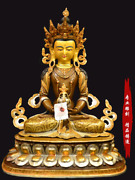 18and039and039 Tibet Amitayus Long Life Buddha Religion Cloisonne Bronze Statue