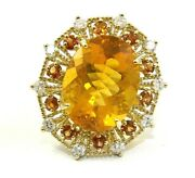 Oval Mexican Fire Opal Ring Diamond And Orange Sappphire Halo 14k Yg 15.47ct