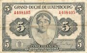 Luxembourg 5 Francs Nd. 1944 P 43 Series A Circulated Banknote Ae2