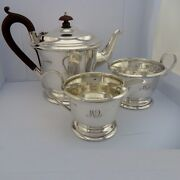 Solid Silver 3 Piece Circular Tea Set On Moulded Footbhm 1941/1946