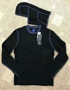 Efm By Donrad Duncan Mens Pullover Sweater W/ Button On Hood Blue Size Medium