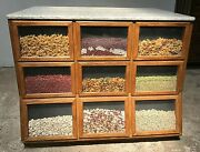 4 Ft C Oak Seed Cabinet W/granite Top. Country/general Store Kitchen Island
