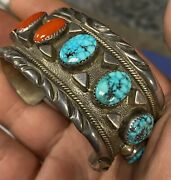 Amazing Potawatomi John Shopteese Sterling Turquoise And Red Coral Cuff Bracelet