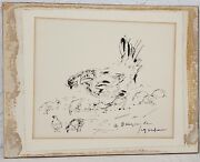 Andre Dunoyer De Segonzac French 1884-1974 Pen And Ink Chickens C.1930and039s
