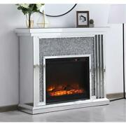 Mirrored Crystals Electric Fireplace Mantle Faux Logs Living Room Bedroom 47.5