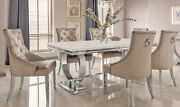 Dining Table - Chrome And Cream Marble Top Contemporary Design - 6 Chairs - 200cm
