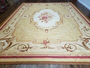 10and039 X 13and039 Hand Made Aubusson Weave Needllepoint Flat Pile Wool Rug Nice B