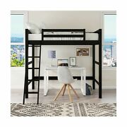 Your Zone Kids Wooden Loft Bed Ladder Traditional Twin Size Sturdy Wood Black