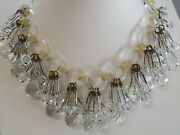 Art Deco French Faceted Crystal Chandelier Fringe Dangle Drop Necklace Mustc