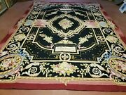 9and039 X 12and039 Vintage Hand Made French Design Needlepoint Wool Rug Flat Weave Black