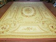 9and039 X 12and039 Hand Made Aubusson Weave Needllepoint Flat Pile Wool Rug Nice